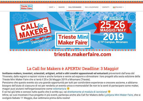 Trieste Mini Maker Faire 2019 call for maker