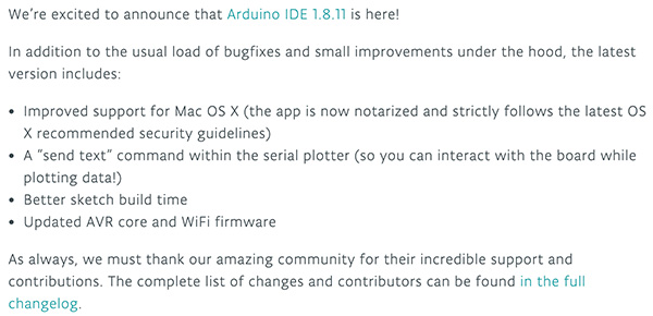 arduino IDE news