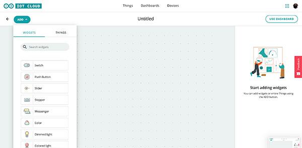 Arduino IoT Dashboard click Add