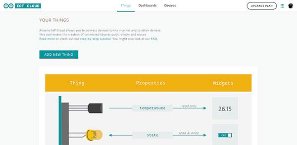Arduino IoT Dashboard first screen