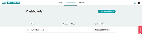 Arduino IoT Dashboard list