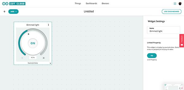 Arduino IoT Dashboard positioning Dimmer light