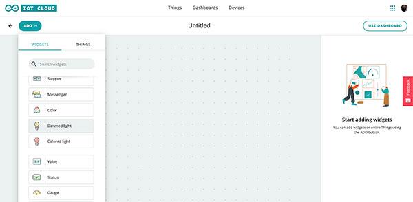 Arduino IoT Dashboard select widget