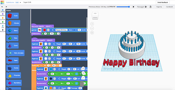 Tinkercad codeblocks Happy Birthday