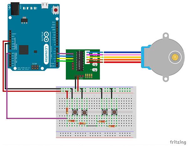 schema 28BYJ-48 arduino due pulsanti