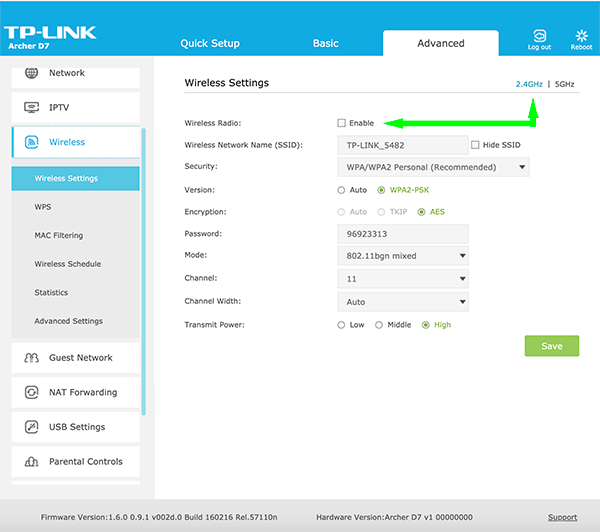 tp-link WiFi 2.4G enable