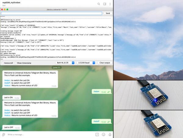 Telegram Bot ESP8266 arduino FlashLed test