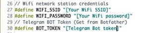 Telegram Bot ESP8266 credenziali