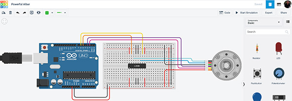 Tinkercad controlla un motore con encoder
