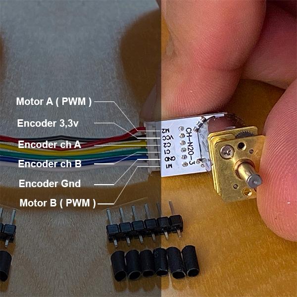micro gear motor con encoder connector legend