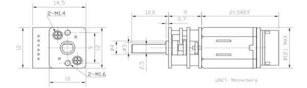 micro gear motor con encoder dimensions