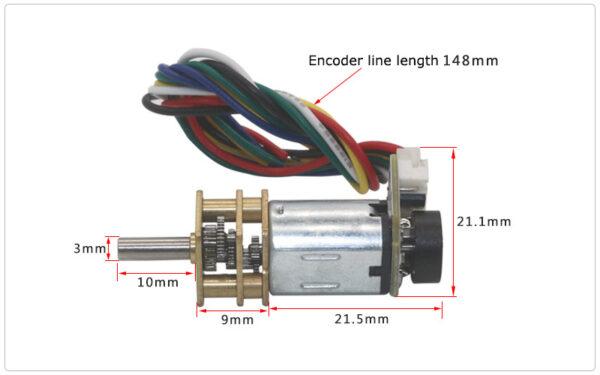 micro gear motor con encoder dimensions II